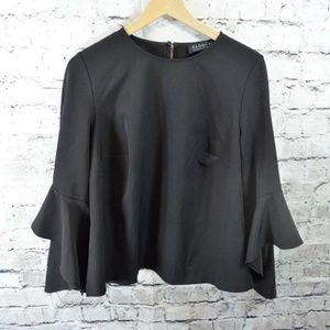 Eloquii Black Ponte Knit Bell Sleeve Top